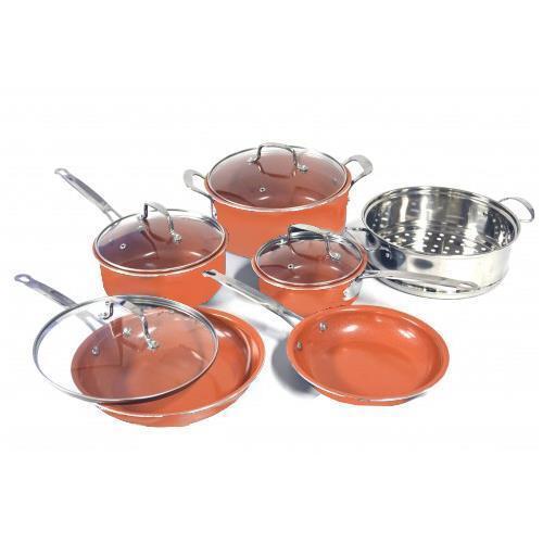 Copper Pan 10 Pc Set Luxury Induction Cookware Set Non Stick