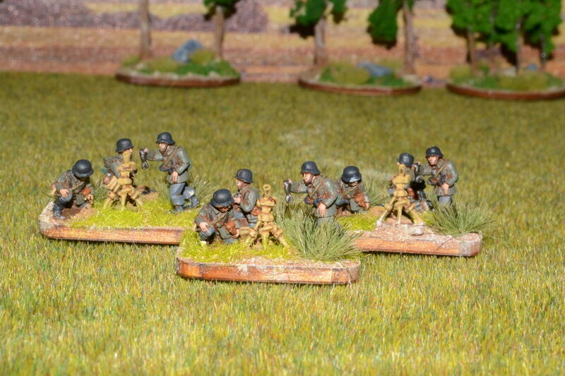 15mm DPS painted Early WW2 German Mortar team Platoon on FOW style base RC509
