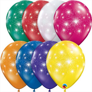 FIREWORKS-BALLOONS-10-x-11-034-FIREWORKS-MULTI-COLOURED-QUALATEX-BALLOONS