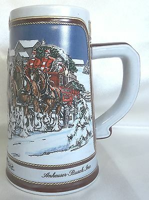 Anheuser Busch Budweiser Beer Stein 1989 The Hitch on a Winter's Evening