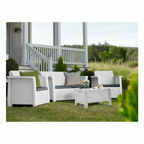 Keter 17201590 Wohnzimmer Gartenmöbel Sitzgruppe 2 Sessel Beistelltisch Weiß