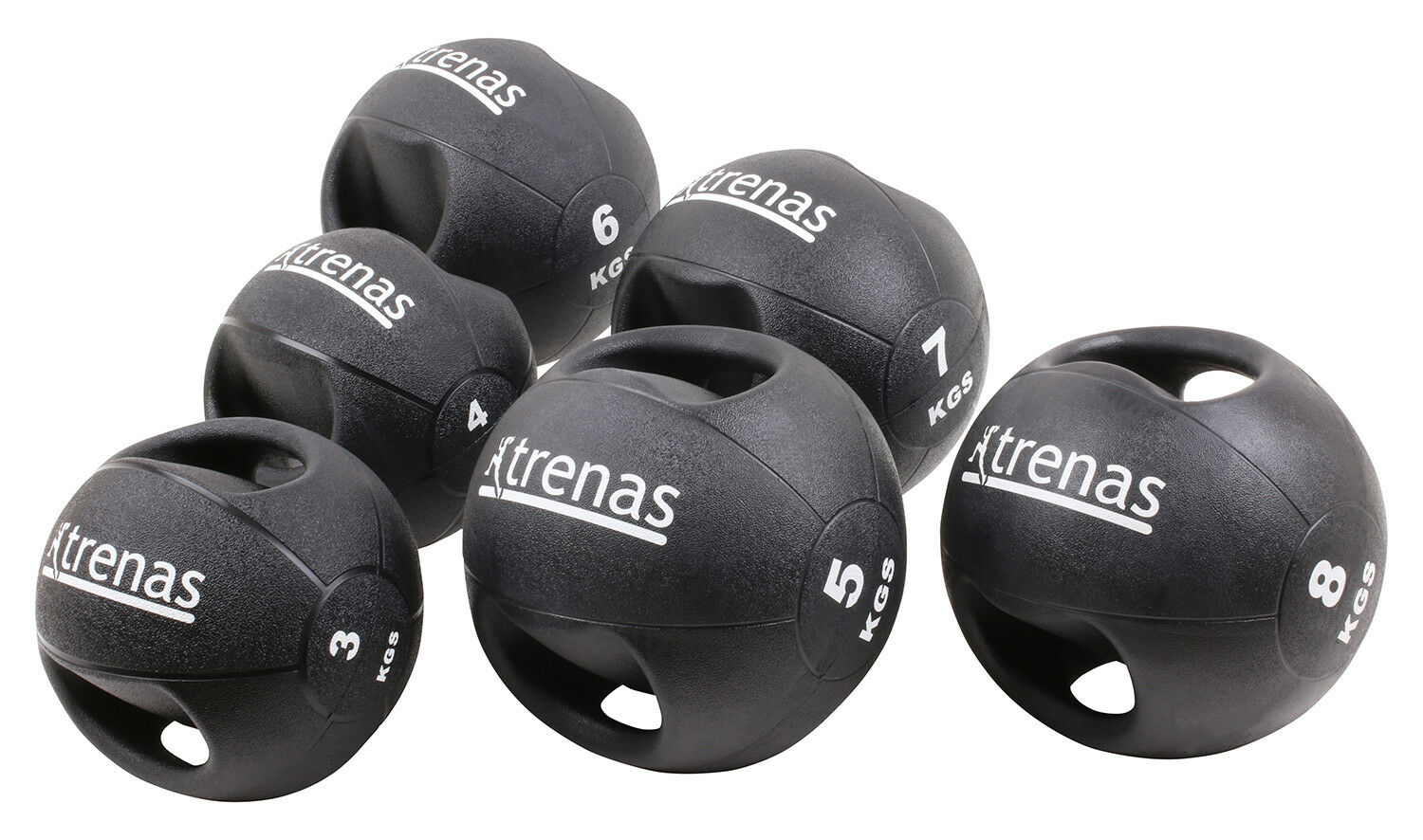 TRENAS PRO Professional Double Handle Medicine Ball - 3  4  5  6  7  8  9  10 KG