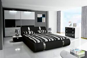Details zu Komplett Schlafzimmer Hochglanz schwarz weiss Kleiderschrank,  Bett, 2 Nako