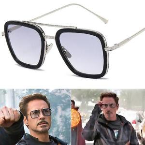 Tony Stark Sunglasses Men Square Metal Avengers Iron Man Sun...