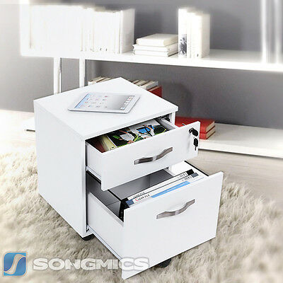 Songmics MDF Lockable Filing Pedestal File Cabinets Bedside Table Nightstands
