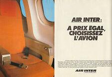 Publicité 1980  (Double page)  AIR INTER l'avion moins cher !! vacances voyages