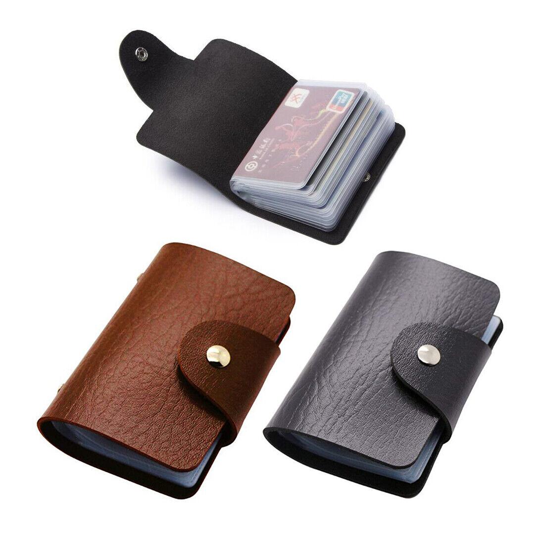 Business Card Wallet Holder 24 Slots Mens Black, Brown Faux Luxury Soft PU
