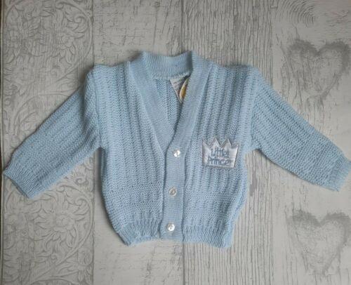 BABY KNITTED CARDIGAN PINK BLUE KNITWEAR PRINCE PRINCESS BOYS GIRLS 0-3 3-6 6-9M