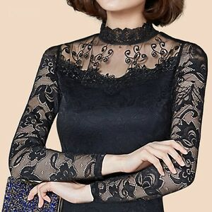 439b6981fc1c9 Sexy Women Lace Sheer Shirt Collared Long Sleeve Slim Blouse Basic ...