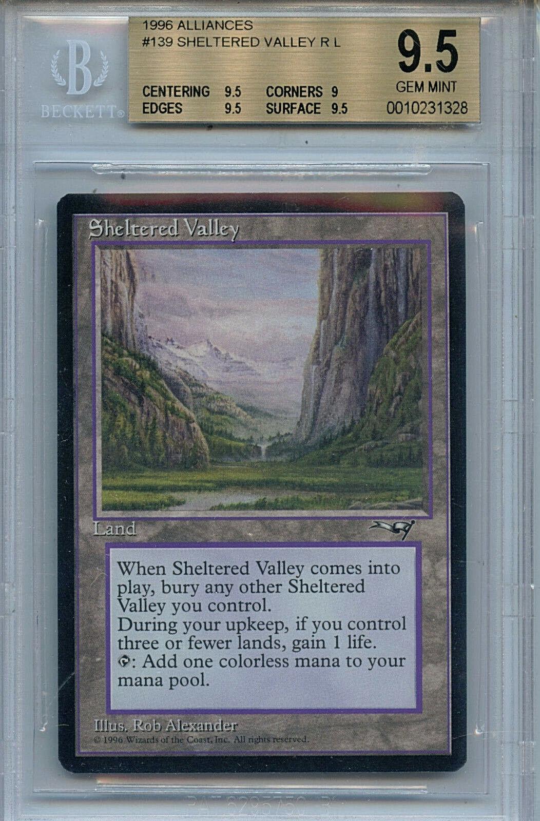 MTG Sheltered Valley BGS 9.5 Gem Mint Alliances Magic Card Amricons1328