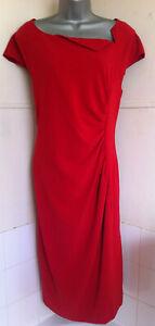 LK-Bennett-034-Davina-034-ruched-Lipstick-red-stretch-crepe-pencil-dress-lined-18BNWT