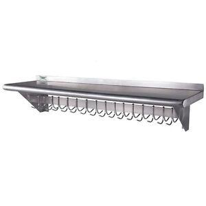 12 x 48 stainless steel wall pot pan rack shelf 18 hooks. Black Bedroom Furniture Sets. Home Design Ideas