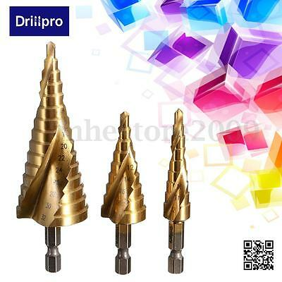 Drillpro 3x HSS Spiral Grooved Step Cone Drills Bit 4mm - 12 20 32 mm Hole Cut