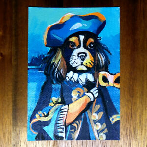 Original-painting-ACEO-hand-painted-OOAK-signed-classic-art-dog