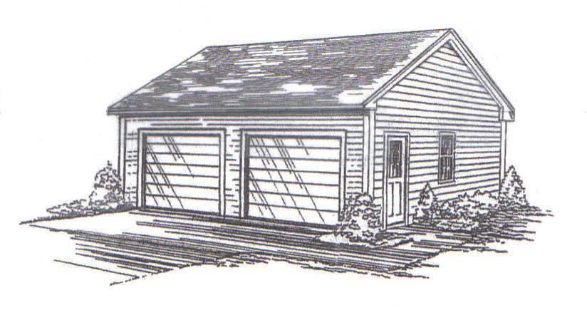 24 x 24 2-Car RD Garage Building Blauprint Plans LP Vault a