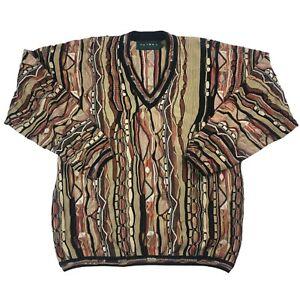 Vintage-90s-COOGI-Stil-Pullover-Sz-M-3d-Strick-Biggie-Bill-Cosby-Hip-Hop