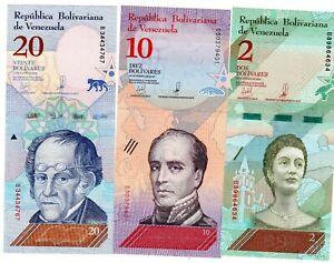 LOT-SET-SERIE-3-BILLETS-VENEZUELA-BOLIVARES-2018-2019-NEW-NOUVEAU-UNC-NEUF