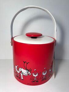 Georges-Briard-Santa-Ice-Bucket-Mid-Century-Red-White-Vinyl-Unused-w-Tag-NOS