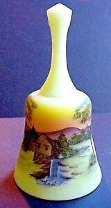 Fenton-Glass-Old-Mill-On-Custard-Bell-Hand-Painted-By-Gloria-Finn