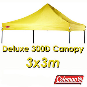 super popular cf5d5 39dc4 Details about COLEMAN DELUXE 3x3m YELLOW GAZEBO CANOPY ROOF REPLACEMENT  COVER TOP FITS OZTRAIL