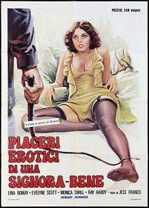 PIACERI EROTICI DI UNA SIGNORA BENE MANIFESTO JESS FRANCO 1974 MOVIE POSTER 2F