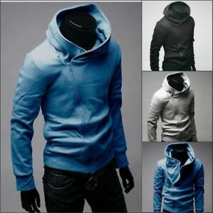 Korean Mens Hoodies Warm Hooded Sweatshirt Coat Jacket Outwear Sweater Slim Tops