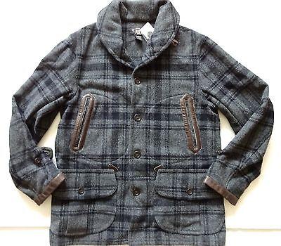 New Ralph Lauren RRL Leather Trim 100% Wool Gray Plaid Cabin Jacket XL