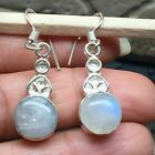 Genuine Rainbow Moonstone Solid Sterling Silver Dangle Earrings 36mm long