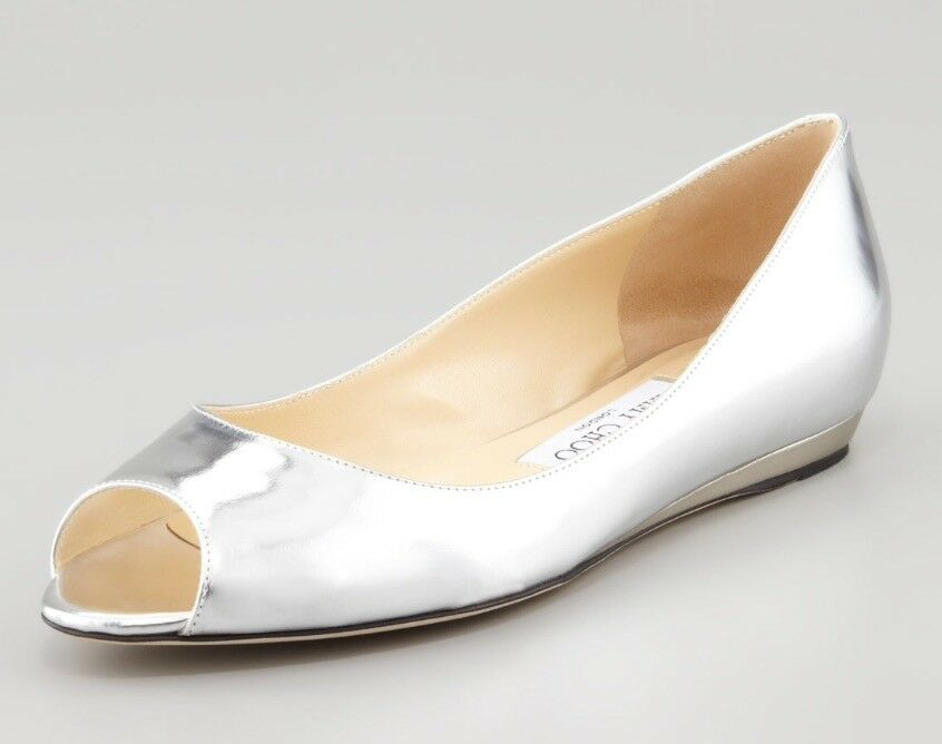 JIMMY CHOO AUTH  799 Women's Silver Leather Beck Wedge Flat shoes Size 9