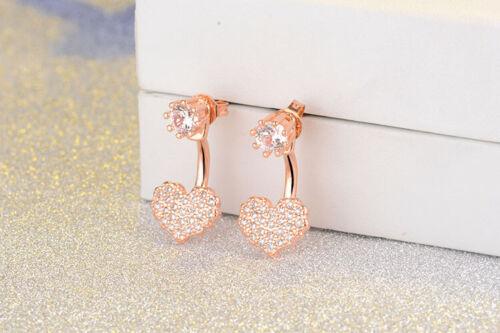Charm Fashion 925 Sterling Silver Natural Zircon Heart Ear Stud Drop Earrings