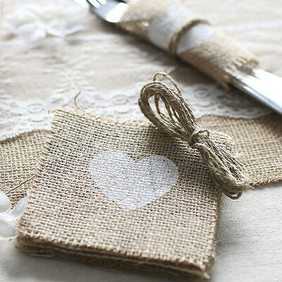 10pcs Jute Burlap Rustic Wedding Party Table Cup Mat Pad Napkin Ring Twine 4x4""