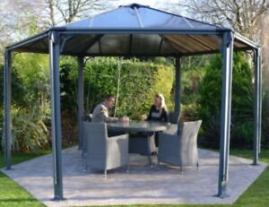 Gazebo-Hexagon-Hardtop-Roof-Permanent-Aluminum-Heavy-Duty-Structure-12-X-15-Foot