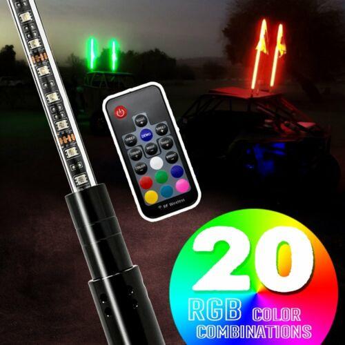 GTP 3/' RGB LED Whip Tail Lights Antenna w// USA Flag For ATV 4x4 Maverick X3 Quad