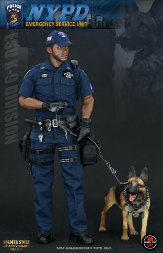 1/6  Soldier Story SS101 NYPD ESU K-9 Policeman And Police Dog Figure in stock