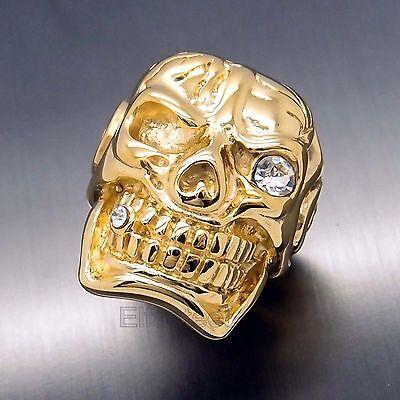 MENS Huge Heavy Gold Skull Cigar CZ 316L Stainless Steel Biker Ring
