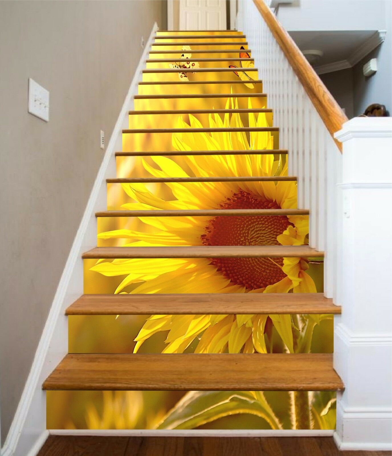 3D Sunflower 537 Stair Risers Decoration Photo Mural Vinyl Decal Wallpaper AU