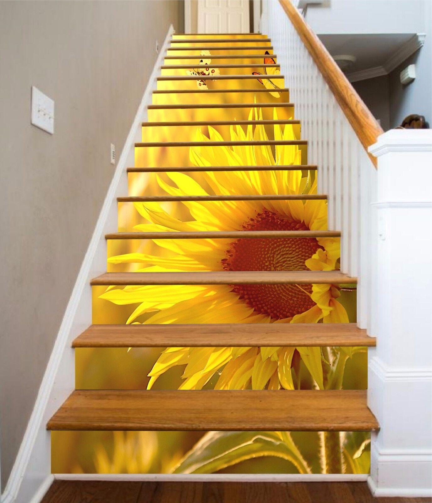 3D Sunflower 537 Stair Risers Decoration Photo Mural Vinyl Decal Wallpaper AU