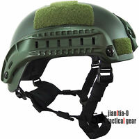 Green Mich2001 Helmet Simplified Action 0.7 Kg Airsoft Nvg Shroud Side Rail