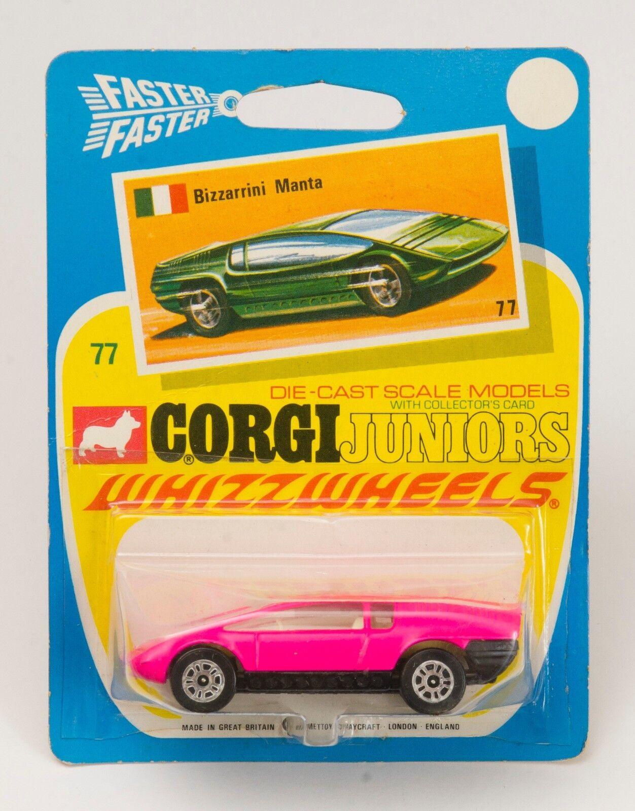 Corgi Juniors No. 77 Bizzarrini Manta. Pink.. MINT CARDED. 1970's