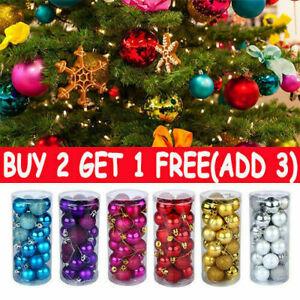 48X Glitter Christmas Balls Baubles Xmas Tree Hanging Ornament Christmas Decor