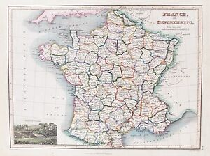 Map Of France Departments.Details About Old Antique Map France Departments C1820 S By Wyld Hewitt Hand Colour