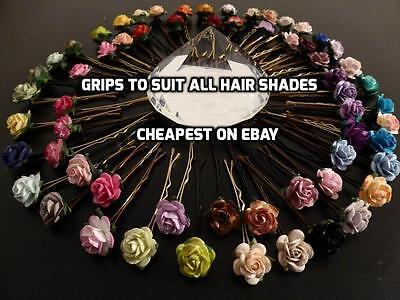6 ROSE HAIR PINS KIRBY GRIPS FLOWER WEDDING BRIDESMAID ACCESSORIES
