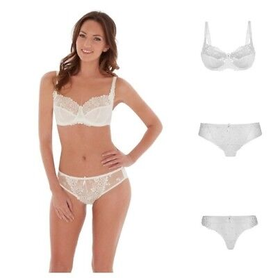 Charnos Suzette Balcony Bra  Non-Padded Underwired  Ivory or Black
