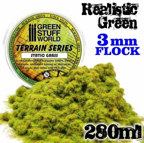 Static Grass Flock 3mm Realistic Green 280 ml scenery warhammer bases