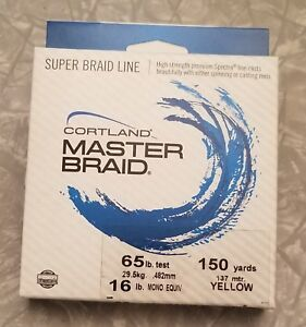 New in Package Cortland Master Braid Fishing Line in Yellow ~ 65lb 150yd