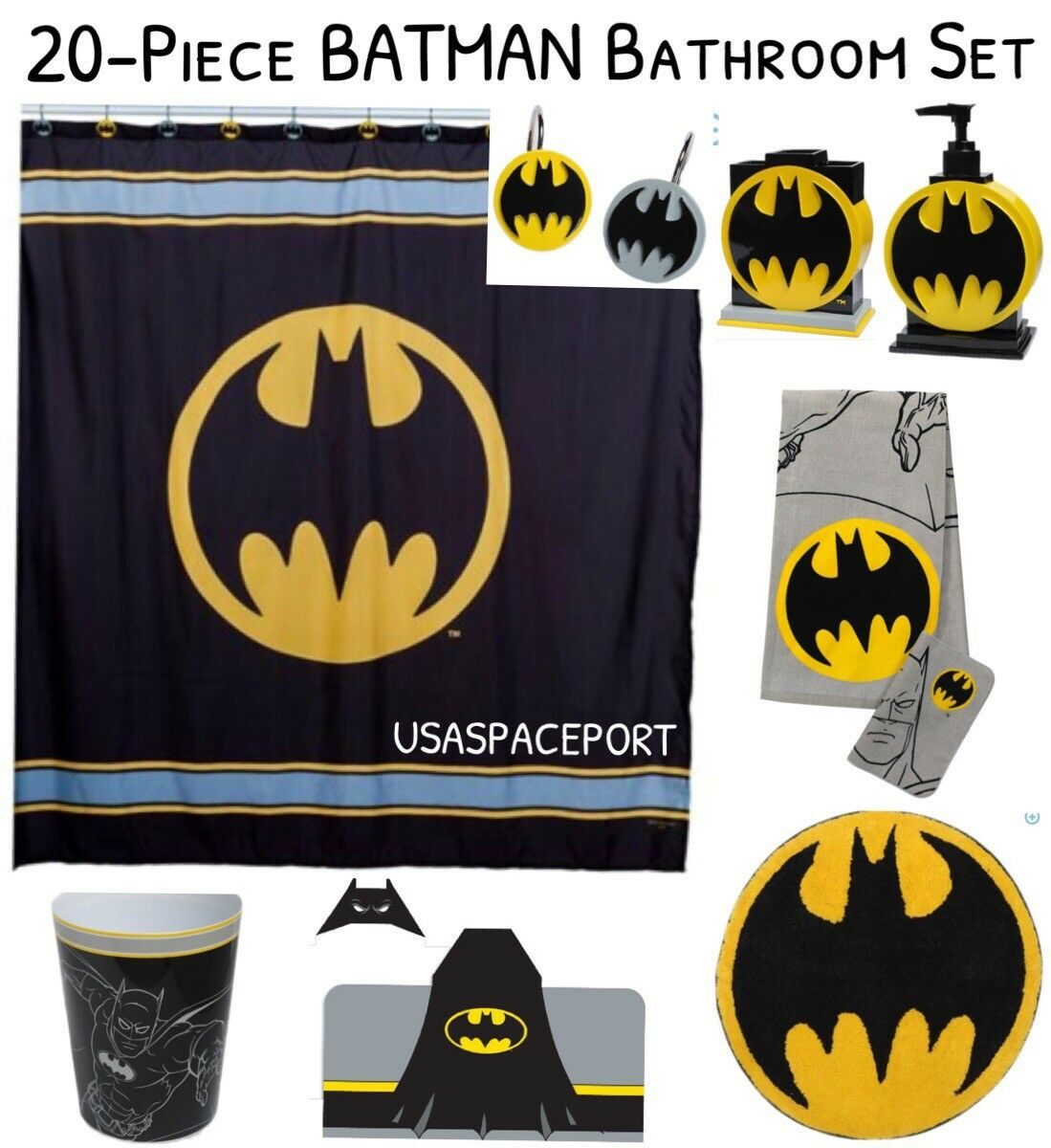 20-pc BAThomme Complete BATH SET Shower Curtain+Hooks+Rug+encapuchonné Towel BAT SIGNAL