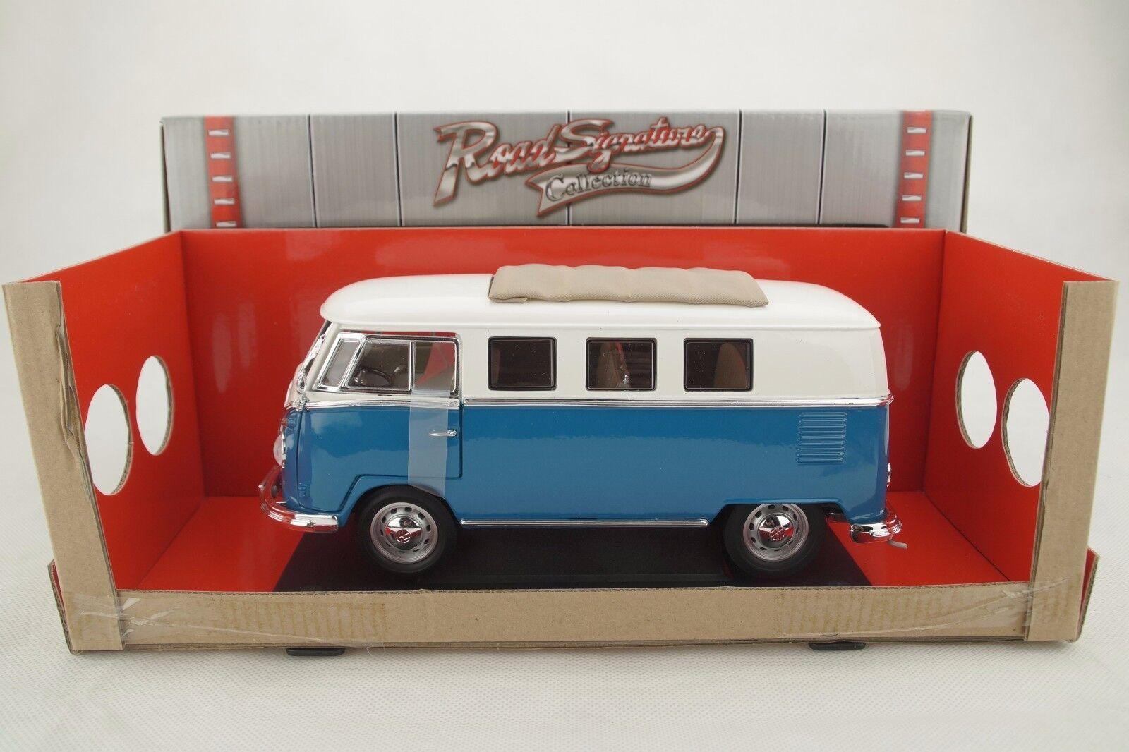 1 18 Road Signature 1962 VOLKSWAGEN VW Bus MICROBUS Blau+Sliding Sunroof Neu OVP