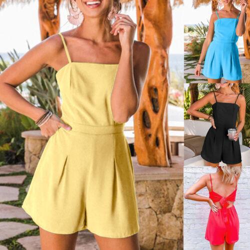 Frauen einteilige Kurzschlüsse Sleeveless Chiffon Sommer Damen Spielanzug rein