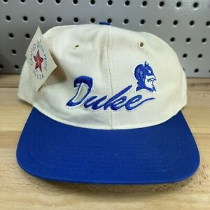 Vintage-90-s-DUKE-Blue-Devils-White-SnapBack-Hat-NOS-w-Tags-Classic-Cap-USA-Made