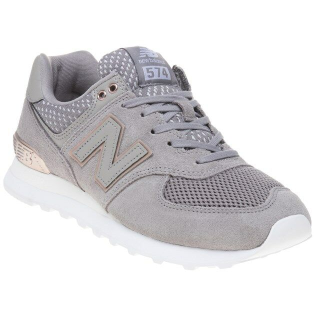 New Damenschuhe New Balance Grau Metallic 574 Nubuck Trainers Prints Lace Up
